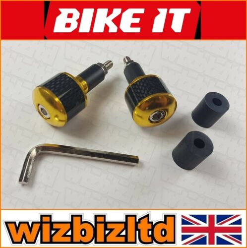 BEWFIBGD Motorcycle BAR Ends Gold with Carbon Sleeves Fits 13mm to 25mm Bars