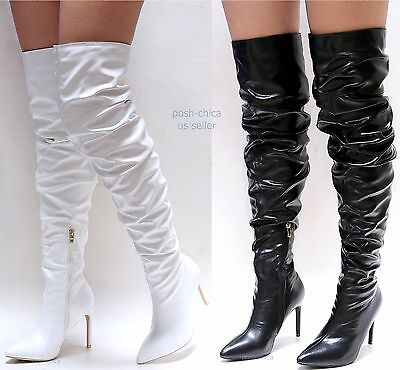 dd6661a6a1f56 Details about New Women ADb Black White Over the Knee Pointy Toe Thigh High  Stiletto Heel Boot