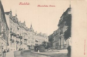 fehlerhaft AK Karlsbad Marienbader Strasse stampsdealer