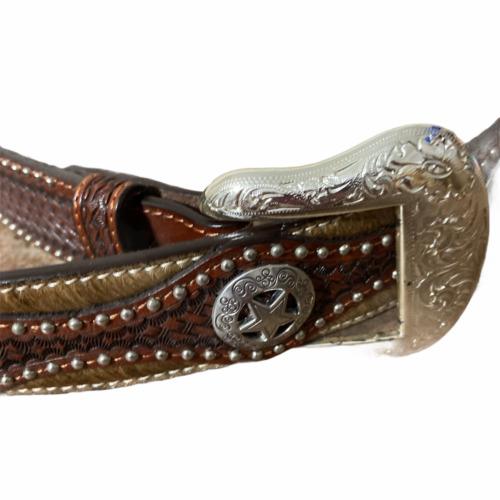 Brand New Roper Leather Western Belt Longhorn Conchos Removable Buckle Size 44