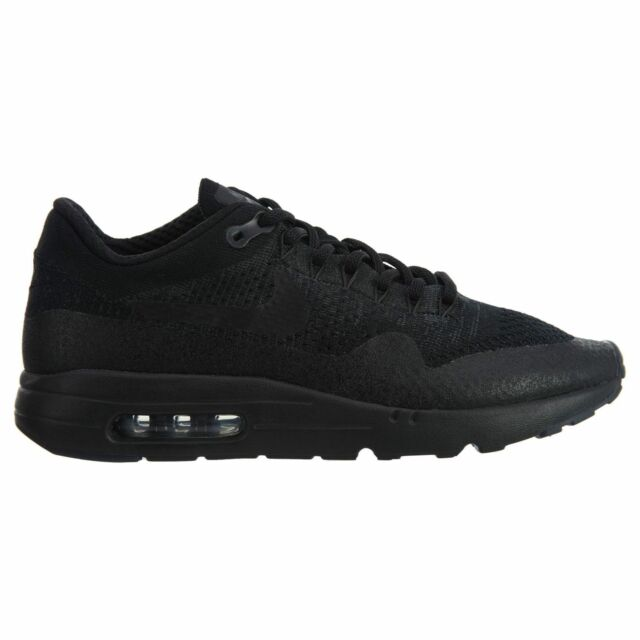 Nike Air Max 1 Ultra Flyknit Mens 856958 001 Triple Black Running Shoes Size 10