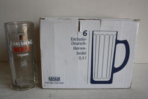 6 Karlsberg-Bock Bierkrüge mit Henkel 0,3 Liter Biergläser