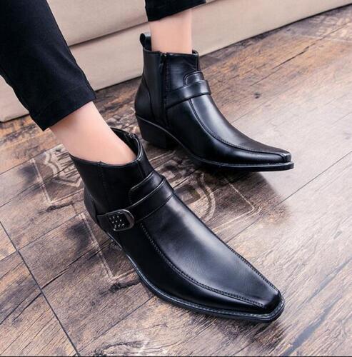 para de con casual tacón estrecha con Botas punta tobillo británicas de Plataforma alta oculto y hombre punta zapatos tx7CSw