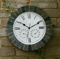 "Slate Effect Outdoor Garden Wall Clock & Thermometer 14"" Yard Decoration New"