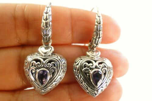 Purple Amethyst Heart 925 Sterling Silver Dangle Drop Earrings