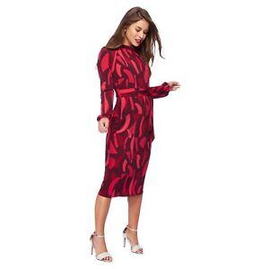 Debenhams-Dark-Pink-Cloud-Print-High-Neck-Dress-Size-UK-10-Petite-LF172-PP-02