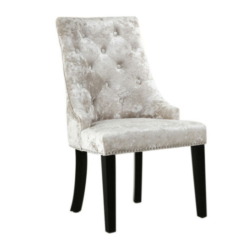 Crush Velvet High Back Dining Chair with Ring Knocker Tufted Accent Stud Chairs