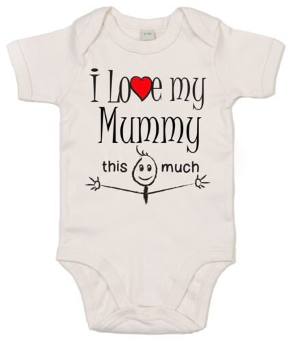 """Baby Body /"""" I Love Mein Tante Daddy Mumie Oma Usw /"""" Strampler Familie Kleidung"""