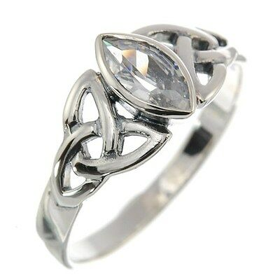 Celtic Knot Stone Silver Ring, Mix-US-Sizes, set w Clear CZ, Solid Silver, r369/