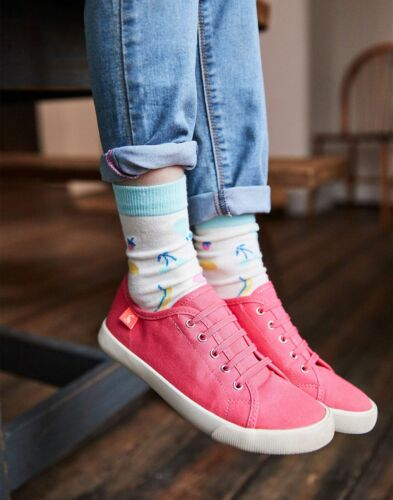 Joules Girls Coast Pump Canvas Lace Up Trainers in BRIGHT CORAL