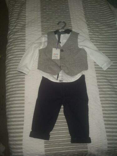 9-12 Month Boys Waist Coat Shirt And Trousers
