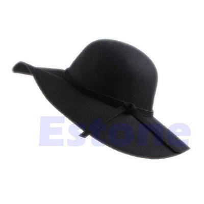 Women Vintage Wide Brim Faux Wool Felt Bowler Outdoor Fedora Hat Floppy Cloche