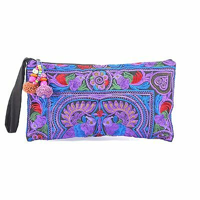 Purple Bird Hmong Handmade Embroidered Clutch Bag/Pencil Case from Thailand