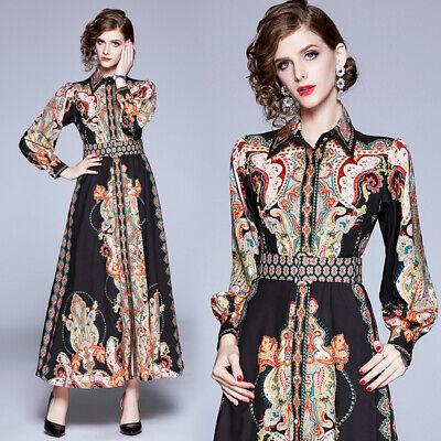Spring Summer Fall Retro Print Collar Belt Empire Waist Women Shirt Dress 2019