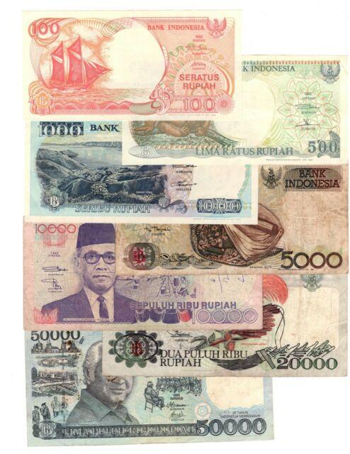 INDONESIA FULL SET 100 500 1K 5K 10K 20K 50K Rupiah (1992-1995) P-127-133 VF-XF