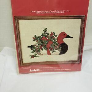 JANLYNN-Counted-Cross-Stitch-Kit-RED-HEADED-DUCK-Gloria-Pat-12-034-x-9-034-vintage