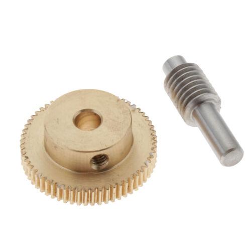 0.5 Modulus Brass Metal Gear Shaft and 60 Teeth Worm Wheel Worm Gear Set