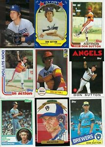 DON-SUTTON-BASEBALL-CARD-LOT-LOS-ANGELES-DODGERS-HALL-of-FAMER-AUTOGRAPH