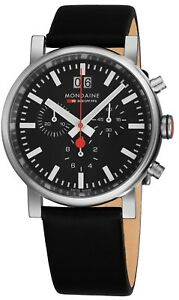 Mondaine-Men-039-s-Evo-Big-Leather-Strap-Chronograph-Quartz-Watch-A6903030414SBB
