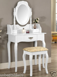 White or Black Dressing Table Set with Stool and Oval Mirror Bedroom ...