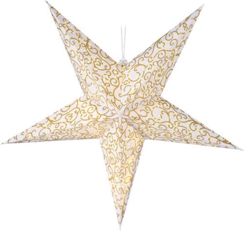 15 LED Timer Weihnachtsstern zum hängen Leuchtstern Papierstern gold 75 cm