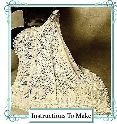 Vintage knitting pattern-make a baby shetland lace heirloom christening shawl