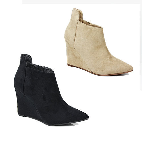 WOMENS CASUAL HIGH SLIM WEDGE HEEL POINTED TOE ANKLE BOOTS LADIES SHOES SIZE 3-8
