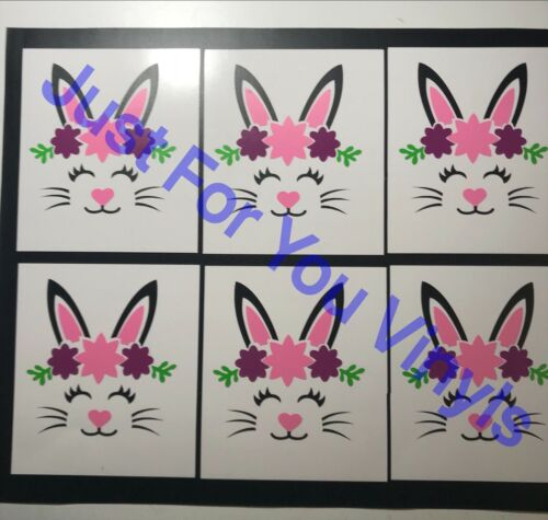 Bunny vinyl decals ideal for glass mugs crafts etc Easter