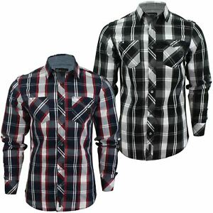 Mens-Check-Shirt-by-Dissident-039-Distrikt-039-Long-Sleeved