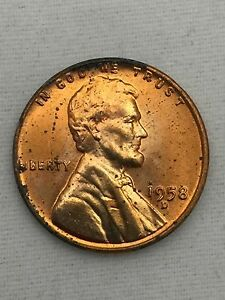 1958-D Lincoln Wheat Cent Nice MS//BU RED Lincoln Coin