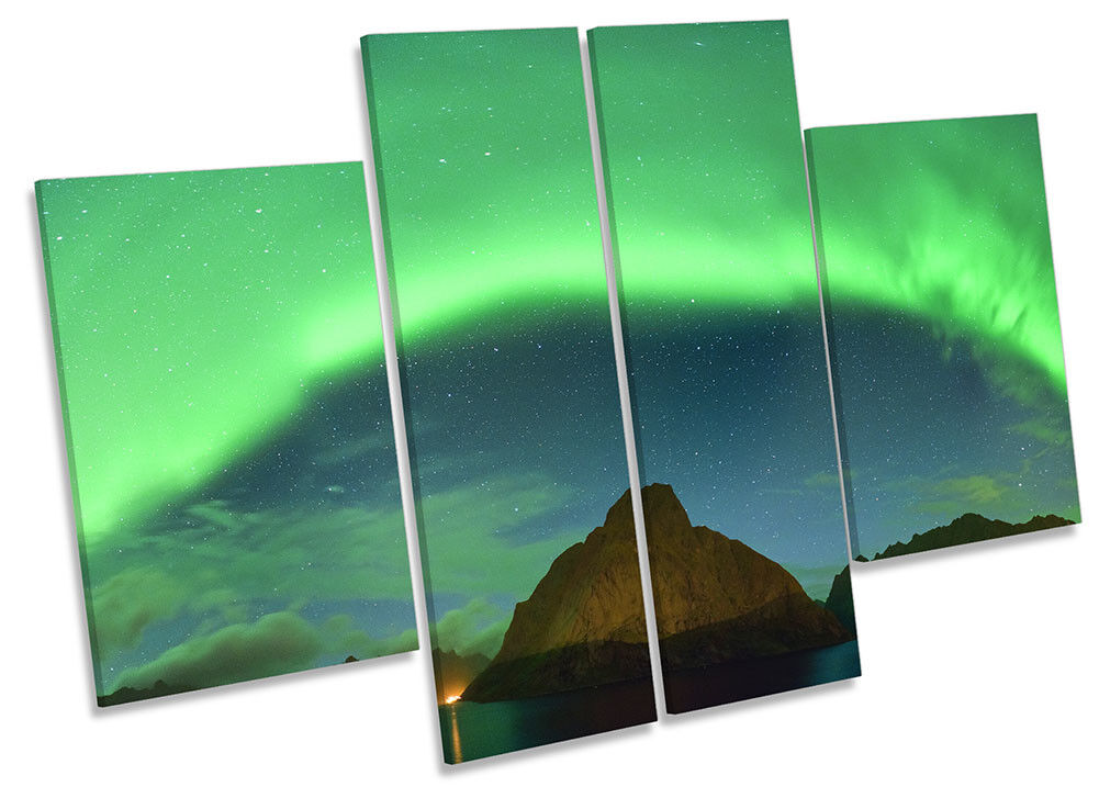 Northern Lights Scene Picture CANVAS WALL ART Four Panel