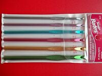 Susan Bates Silvalume Crochet Hooks, Set Of 6, Sizes F5, G6, H8, I9, J10, K10.5