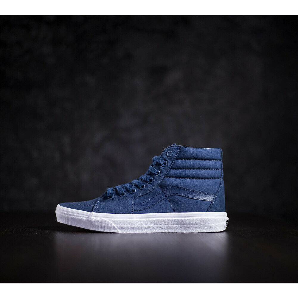 NWOB  Mens  Vans Sk8-Hi (Mono Canvas) Dress bluees True White VN0A38GEMX3