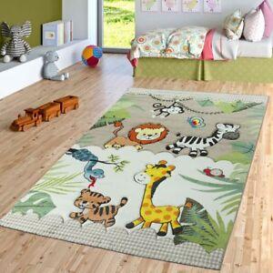 Kinderzimmer Teppich Dschungel Zoo Tiere Zebra Tiger Lowe Affe Beige