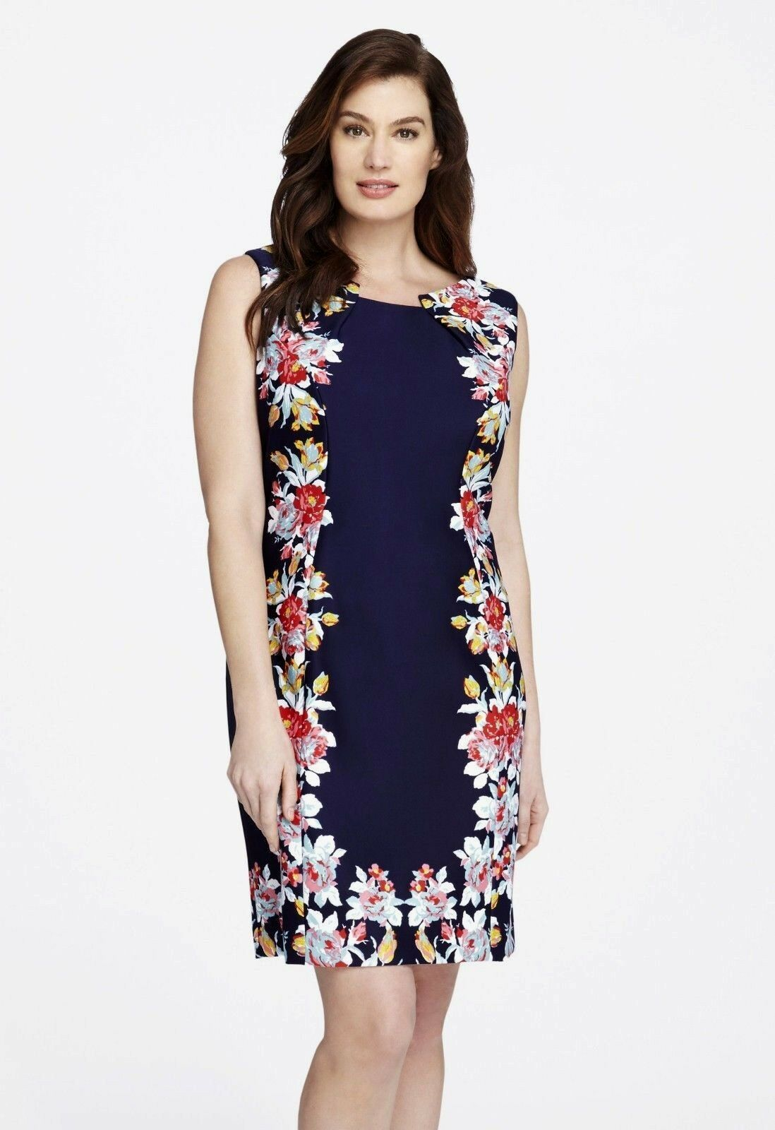 NWT MSRP  TAHARI by ASL Womens Illusion Floral Print Sheath Dress, NAVY, 20W