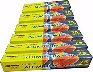 6 x Kitchen Aluminium Catering Foil Tin 450mm and 300mm x 75m strong packing