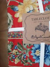 APRIL CORNELL 60 x 84 RECTANGULAR TABLECLOTH RED BLUE YELLOW SEATS 6  NIP