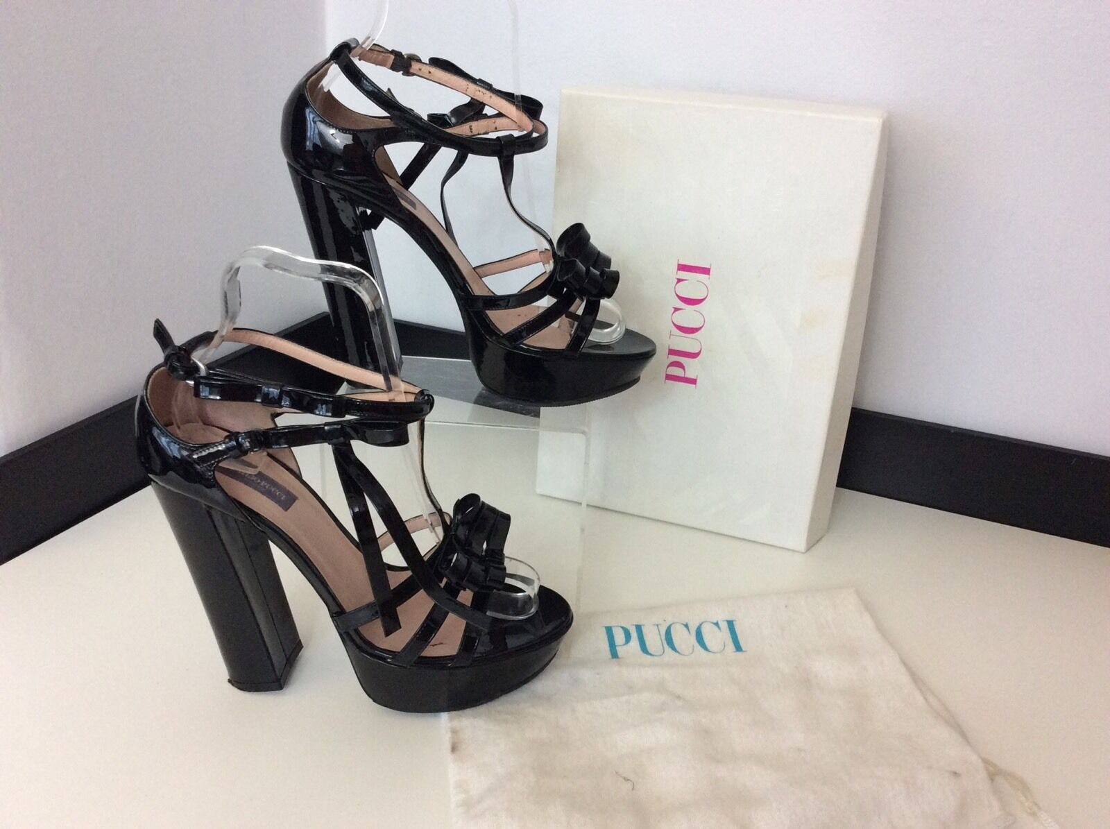 EMILIO PUCCI black Patent Leather shoes Size 37.5 Uk 4.5 Boxed Rrp