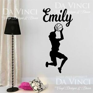 Basketball Player Slam Dunk Decal Custom Name Wall Personalized Vinyl Sticker F