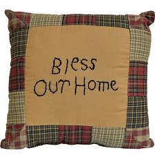 """Primitive Rustic Patchwork Tea Cabin """" BLESS OUR HOME """" Throw Pillow - Country"""