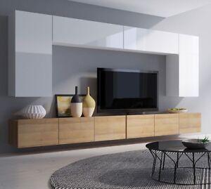 Details zu Moderne Wohnwand Calabrini XIII Wohnzimmer-Set Hängewohnwand  Hochglanz 5-Farben