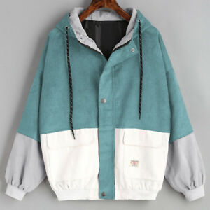 Spring-Women-Long-Sleeve-Patchwork-Oversize-Jacket-Windbreaker-Coat-Overcoat-AB