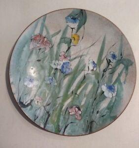 Vintage-Lilyan-Bachrach-Enamel-on-Copper-Detailed-Floral-Plate-090-Artist-Signed