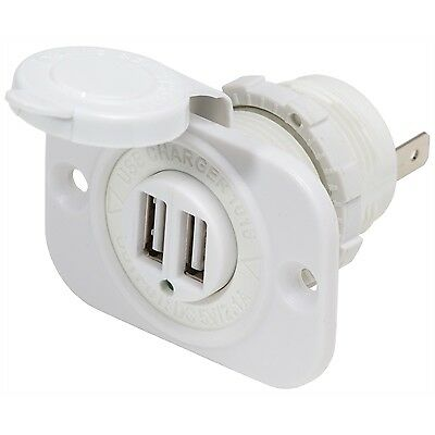 Blue Sea 1016W Dual USB Charger Port 12V Marine Boat Socket Plug WHITE