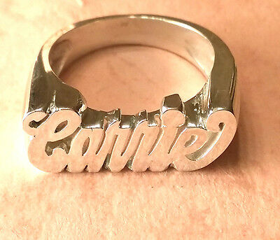 NAME RING PERSONALIZED STERLING SILVER ANY NAME MADE IN USA  HAND MADE *FLAT*