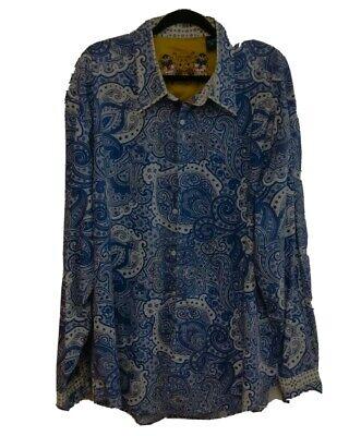 Robert Graham Mens Designer Shirt Label 3xl Paisley Blue And White Vguc Ebay