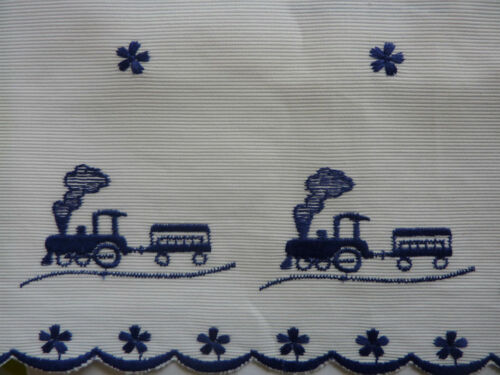 white blue steam engine train embroidery pelmet Ribbon Trim suitable for crafts