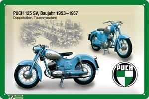 Blechschild Puch 125 SV 1953 - 1967 - 20 x 30 cm - mit Motivprägung