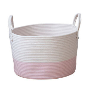 Cotton-Woven-Storage-Baskets-Laundry-Toys-Organizer-Containers-Decor-Pink-S