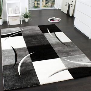 Living Room Rug Black White Grey Modern
